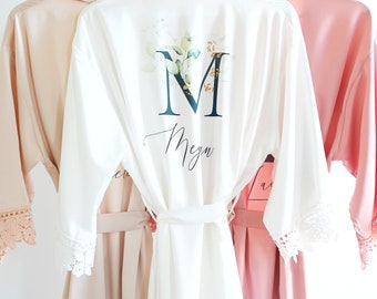 Personalized Christmas Gifts for Her, Mom, Sister - Holiday Gifts  for Women - Satin Lace Robe- Custom Writing Gold Floral Designs {SL}