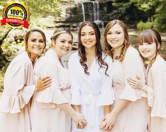 BRIDESMAID ROBES, Ruffle Bride Robe, Bridesmaid Gifts Personalized, Bridal Shower Gifts, Bridesmaid Proposal, Wedding Party Gift {RF}