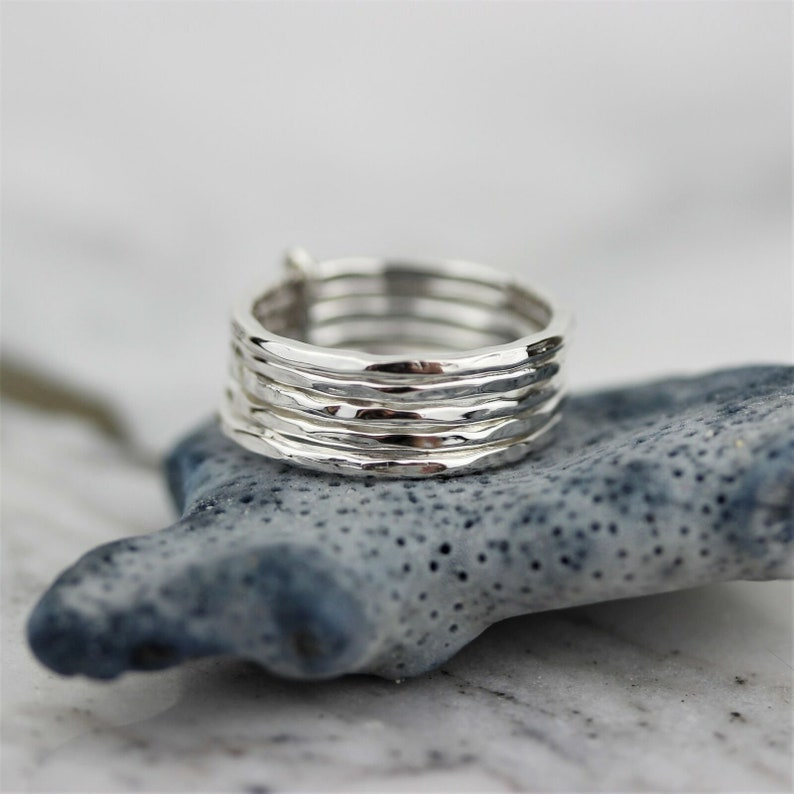 Stackable Ring Silver 925 Sterling Silver Hammered Stackable Rings Modern Hammered Beaten 5 Rings Set Hammered Stackable Rings for Her