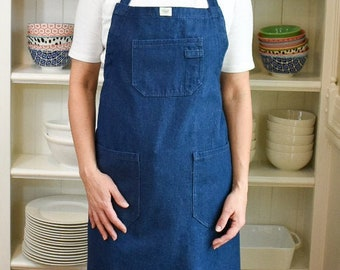 Cotton Denim Apron   Chest & Hip Pockets   Adjustable Neck Strap   Generous Cut for Full Coverage   Ties in Back or Front