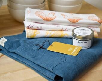 Linen Apron Gift Set   Set of Kitchen Towels   All Purpose Seasoning   Gourmet Cook Gift Set