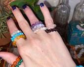 Crystal Beaded Stretch Ring Gemstone Crystal Stretchy Beaded Ring Beaded Ring