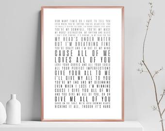 PERSONALISED  John Legend All of Me Music Song Lyric Print Wedding Valentine