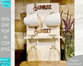 Sunrise Sunset Mug Glass Holder svg, Coffee and Wine Rack svg, Digital Download, Glowforge Ready svg, Laser Cut file, Commercial Use