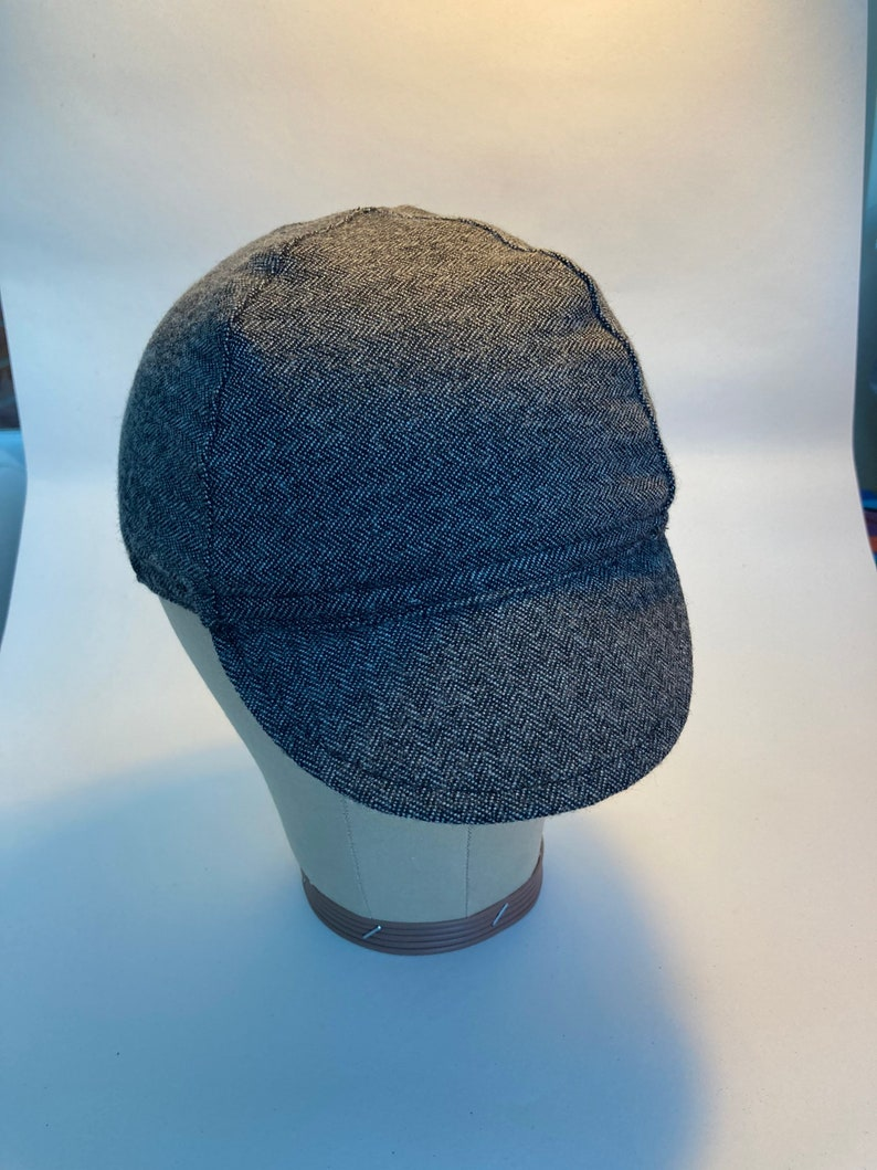 HandMade herringbone Cycling Cycle Fashion Festival Lined Cap Peak Hat Vintage Look Bohemian