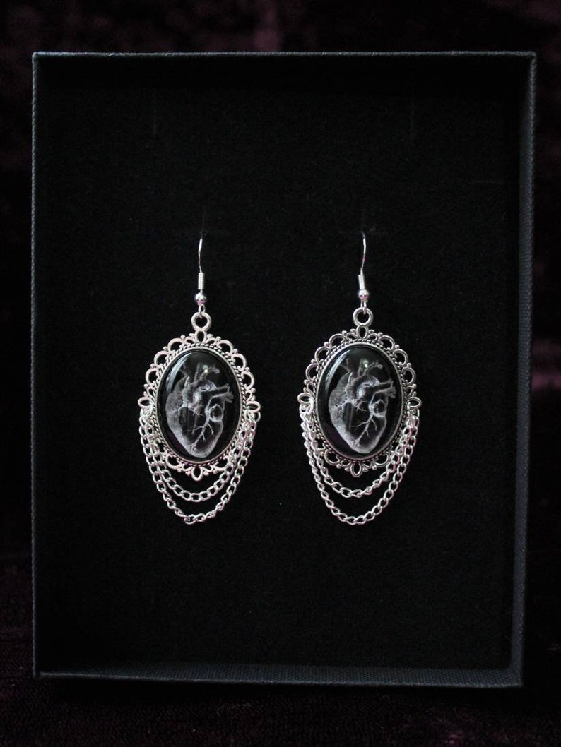 Gothic Creepy Human Heart Pendant Cabochon Silver Earrings
