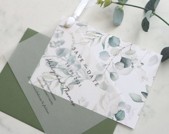 SAMPLE Botanical Save the Date, Eucalyptus Save the Date with Vellum, Sage Green Envelope