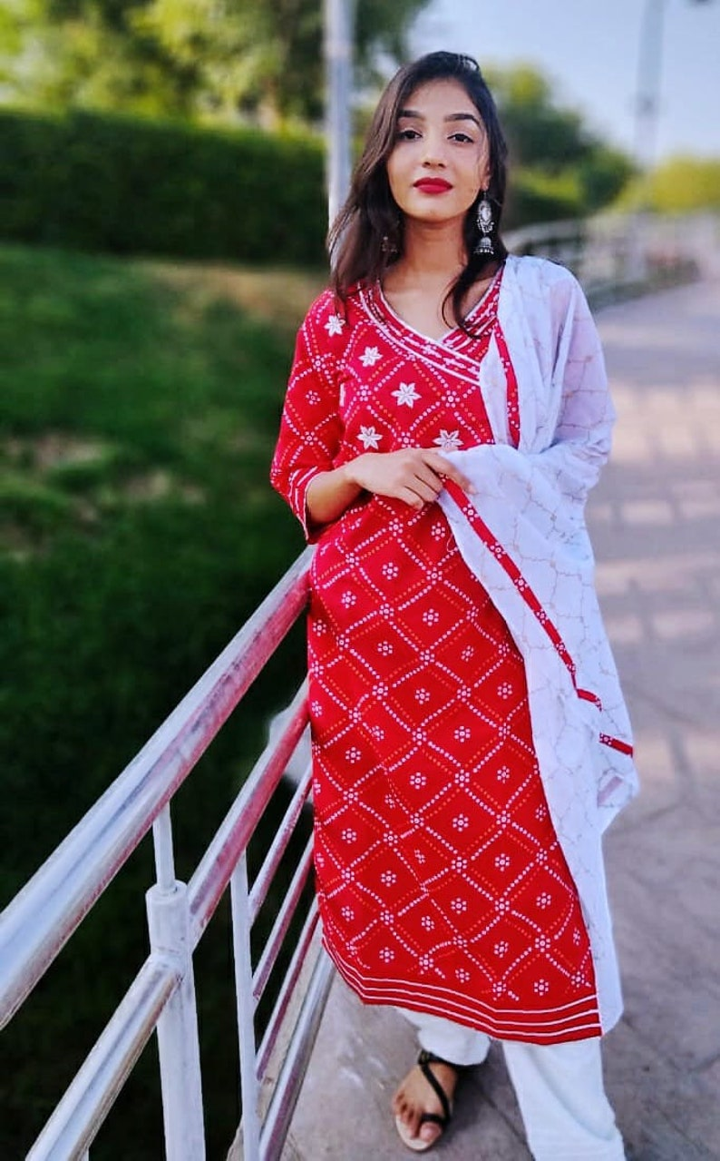 New Launch Karwa Chauth Special Dress FOr Women Our new Ethnic  suit is all set to perk up your wardrobe this  season Bandhej Red kurti