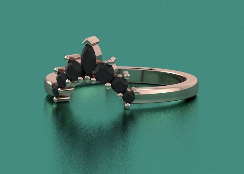 Black onyx curved wedding ring women curved ring curved silver ring dainty ring crown stacking ring curved wedding band ring for women gifts