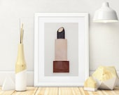 Brown and Gold Lipstick Wall Art Painted With Makeup, 3D 5x7, Makeup Room Decor, Gift for Beauty Lovers
