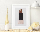 Chocolate Brown Lipstick Wall Art Painted With Too Faced Makeup, 3D 5x7