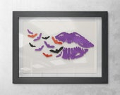 Purple Lips and Bats Halloween Painting Wall Art Decor, 3D 5x7 Purple Lips Transforming Into Black, Orange, and Purple Flying Bats, Party