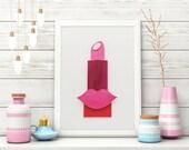 Pink Lipstick Makeup Art, Lipstick Art, Hand-Painted, 3D 5x7, Makeup Room Decor for Beauty Lovers, Vanity Decor, Bathroom Decor