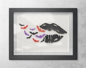 Lips and Bats Halloween Painting, Wall Art Decor, 3D 5x7 Black Lips with Flying Black, Orange, and Purple Bats