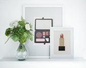 Painted With Makeup Gold, Black, and Brown Lipstick Wall Art Inspired by Luxury Beauty Brands, 3D 5x7, Gift for Beauty Lovers