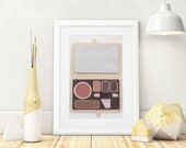 Makeup Palette Wall Art in Neutral and Brown Colors, 3D 5x7, Makeup Room Decor Gift Painted With Too Faced and Tarte Makeup