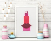 Lipstick Art Painted With Makeup, 3D 5x7, Makeup Decor for Beauty Lovers, Makeup Art, Makeup Room Decor