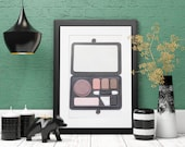 Classic Makeup Palette Wall Art, Decor, Hand-Painted With Makeup, Inspired by Luxury Beauty Brands Chanel and Dior 3D 5x7