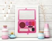 Pink Makeup Art, 3D 5x7, Makeup Decor Gift For Beauty Lovers, Eyeshadow Palette, Wall Art, Makeup Room Decor