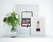 Painted With Makeup Gold and Brown Lipstick Wall Art Inspired by Luxury Beauty Brands, 3D 5x7