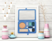 Blue Makeup Art, 3D 5x7, Palette, Eyeshadow, Makeup Room Wall Decor, Holiday Gift for Beauty Lovers