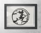 Flying Witch Halloween Painting Wall Art Decor, 3D 5x7 Black Cat, Stars, Witch Wearing A Witch's Hat on a Broomstick, and Bats in a Circle