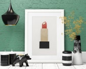 Classic Red Lipstick Wall Art Inspired by Luxury Beauty Brands, Painted With Makeup, 3D 5x7
