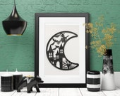 Halloween Painting, Wall Art Party Decor, 3D 5x7 Black Crescent Moon with Haunted House, Witch on a Broomstick, Spooky Tree, Bats
