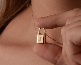 Backwards Gold Tiny Lock Necklace