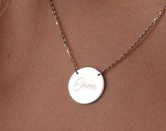 Disc Necklace, 14K Gold Disc Necklace, Custom Disk Necklace, Circle Necklace, Personalized Necklace, Engraved Disc Necklace