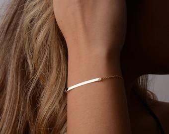 Bar Bracelet, 14K Solid Gold Bar Bracelet, Custom Bar Bracelet, Personalized Bar Bracelet, Engraved Bar Bracelet, Gift for Her