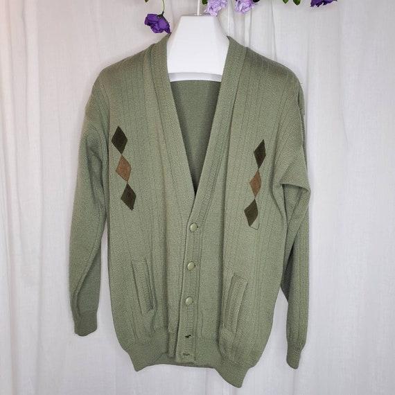 Vintage Angora Green Cardigan Sweater w/ Suede Pat