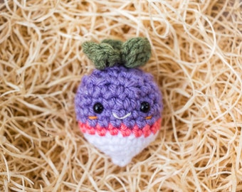 Crochet turnip broochcrochet turnipsoriginal vegetable Bochenabo Amigurumi