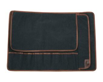 8 pocket Canvas Knife Roll, Black/Navy blue. Knife case, Knife storage, Chef bag