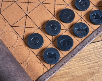 Chess Game Leather Roll Handmade - Vintage Colors - Travel Chess board set - Easy to cary Chess