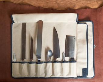 8 pocket - Leather Knife Roll - / - / - Knife case, Knife storage, Chef bag