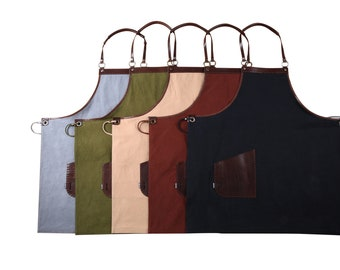 Leather Apron - Heavy Canvas and Vegetable tanned leather (Hand Stitched)