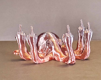 Fucktopus Octopus 70+ Colors - Middle Finger, 3D Printed, Valentines Gift, Vulgar Desk Ornament, Angrypus, Gag Gift, Rude, Octopoda,Vulgaris