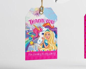INSTANT DOWNLOAD Unicorn Barbie Birthday Printable Thank You Tag