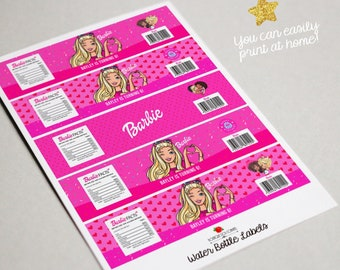 Barbie Water Bottle Label - Printable Barbie Birthday- PERSONALIZED Digital file