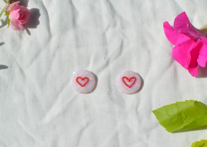 Statement Earrings Love You Stud Earrings Polymer Clay Earrings Made in Melbourne