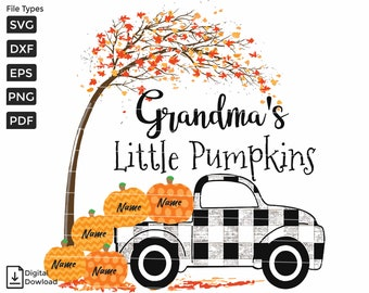 Mamaws Little Pumpkins With Truck SVG and Png PNG Shirt Printing Custom File Format sublimation png EPS Custom Name On Pumpkins Dxf