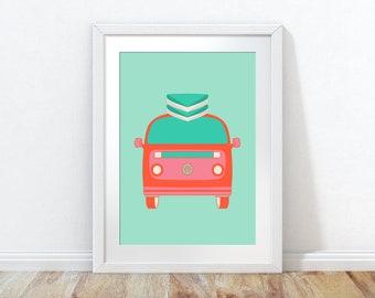 VW Camper, VW Camper Wall Art, VW poster, Campervan Print, camper van gift, camper van,