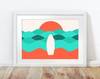 Beach Wall Art, Sea Print, Surfing Wall Print, Beach Poster, Surf Print, Surfboard Poster, abstract wall print