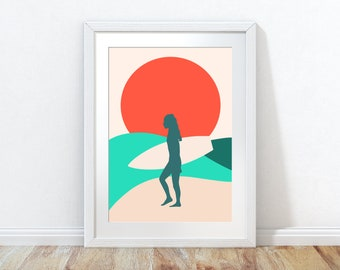 Surfing Poster, Sea Print, Surfing Wall Print, Beach Poster, Surf Print, Beach Art, Surfboard Poster