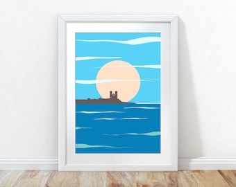 Minnis Bay Sunrise, Minnis Bay wall art, Minnis Bay art print, Minnis Bay sunrise, Minnis Bay poster, Reculver castle drawing