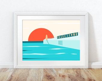Folkestone poster, Folkestone Harbour Arm drawing,  coastal art print, seascape print,