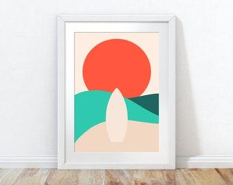 Beach Wall Art, Sea Print, Surfing Wall Print, Beach Poster, Surf Print, Surfboard Poster