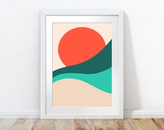 Sunrise beach art, ocean sunset, beach poster, minimalist art, minimalist poster, seascape print, beach wall art, coastal art