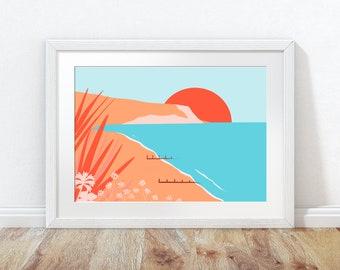 Folkestone print, Folkestone beach print, Kent art print, Coastal wall art, Beach poster, Beach wall art, Beach view print